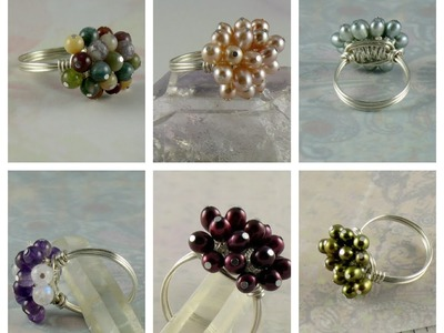 Handmade Copper Wire Wrapped Cluster Beaded Cocktail Rings with precious and semi precious gemstones