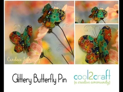 How to Make a Glittery Butterfly Beaded Pin by Candace Jedrowicz
