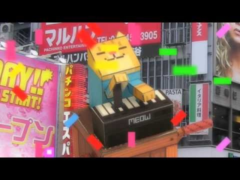 Keyboard cat papercraft tribute