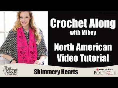 Shimmery Hearts Scarf: North American Pattern