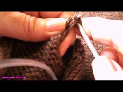 Вязание передних планок тёплой кофты. Knitting front pieces warm sweaters .