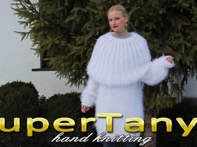 05.01.2013 White hand knitted mohair cowl neck sweater by SuperTanya