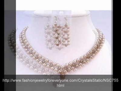 Class 3 Strand Swarovski Bronze Pearls Smoked Crystals Necklace by FashionJewelryForEveryone.com