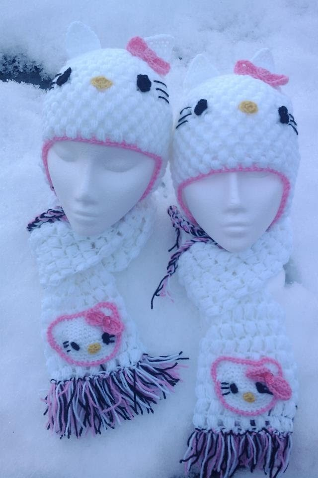Crochet minnie mouse dress cap booties set hello kitty ear flap hat scarf set| fresh off tha hook