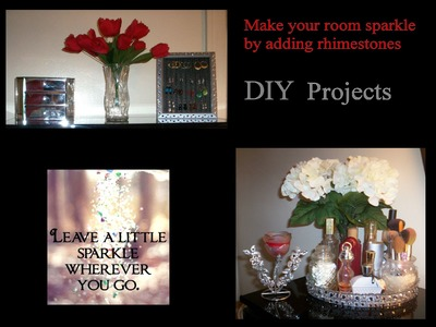 DIY Room Decor -Rhinestone Vanity, Candle Holder, and Earring Frame