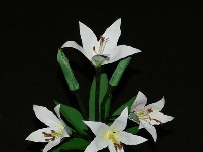 Recycled Plastic Craft: White Oriental LILY Flowers made with plastic can