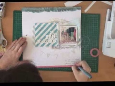 """Scrapbooking:: """"my little obsession"""" 12x12 page using fabric scraps"""