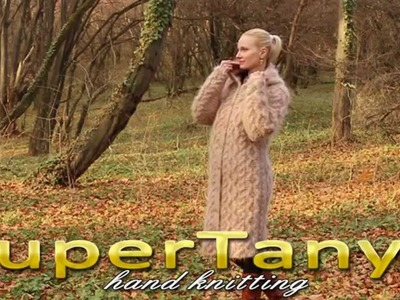 03.12.2012 Beige hand knitted cable rich mohair cardigan coat by SuperTanya