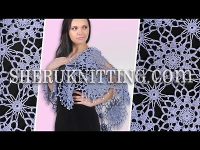 Beaded Edging Crochet Lace Shawl Wrap Model 7