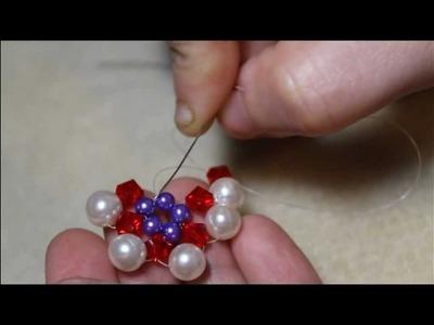 Beaded flower earrings part 2