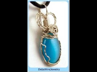 Blue Cat's Eye Wire Wrap Pendant - By DebsWireJewely