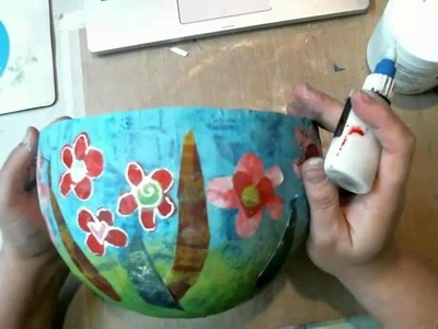 Decorating a Paper Mache Bowl with Gelli Printed Papers