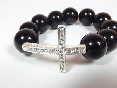 DIY: Beaded sideways cross bracelet