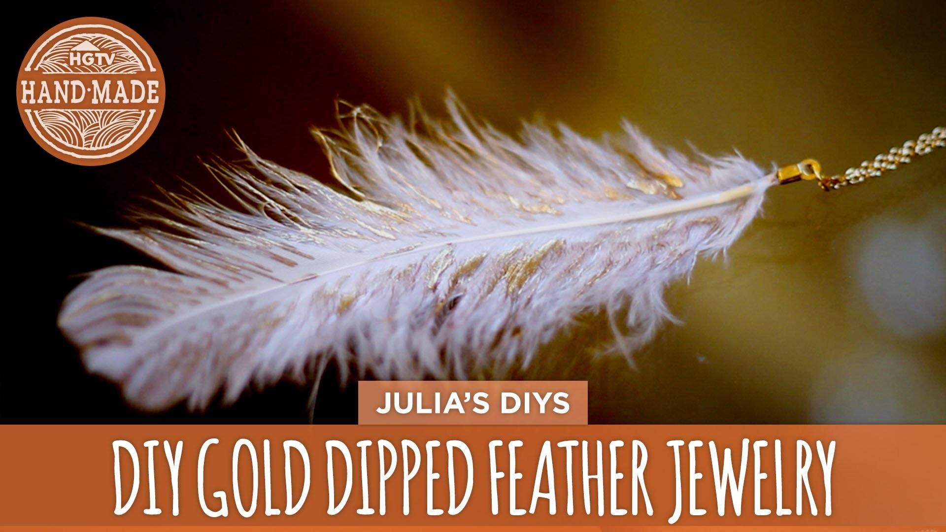 DIY Gold Dipped Feather Jewelry - HGTV Handmade