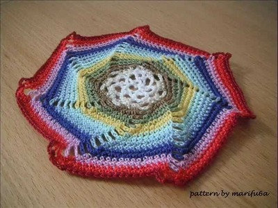 How to rainbow crochet spiral motif doily hot pad rug free pattern for beginner