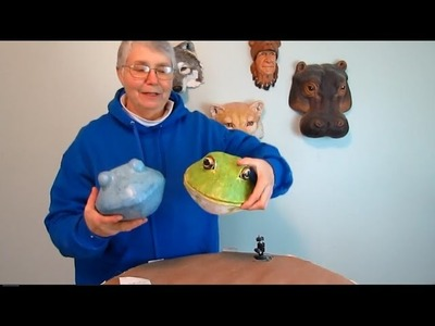 Paper Mache Frog Trophy Head with Papercraft Pattern #1