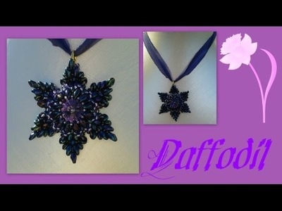 Super duo (Daffodil) Flower Pendant Beading Tutorial by HoneyBeads1
