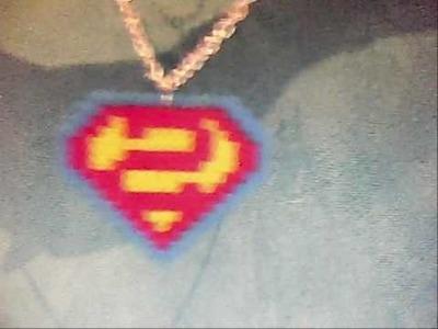 Superman hama bead necklace
