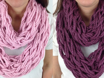 30 Minute Arm Knit Infinity Scarf Cowl with Lion Brand Wool Ease - Left Handed