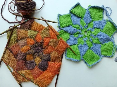 Advent Calendar * December 19, 2012 * Knitting Entrelac Star * Knitting Entrelac in Rounds