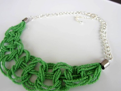 AliExpress seed beads necklace DIY.  Колье из бисера и цепочки