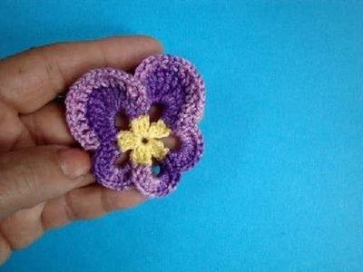 Анютины глазки How to crochet pansy Вязание крючком Урок 54
