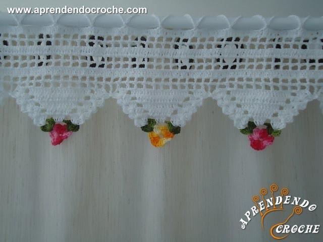 Bandô de Crochê Triângulos Florais - Aprendendo Crochê