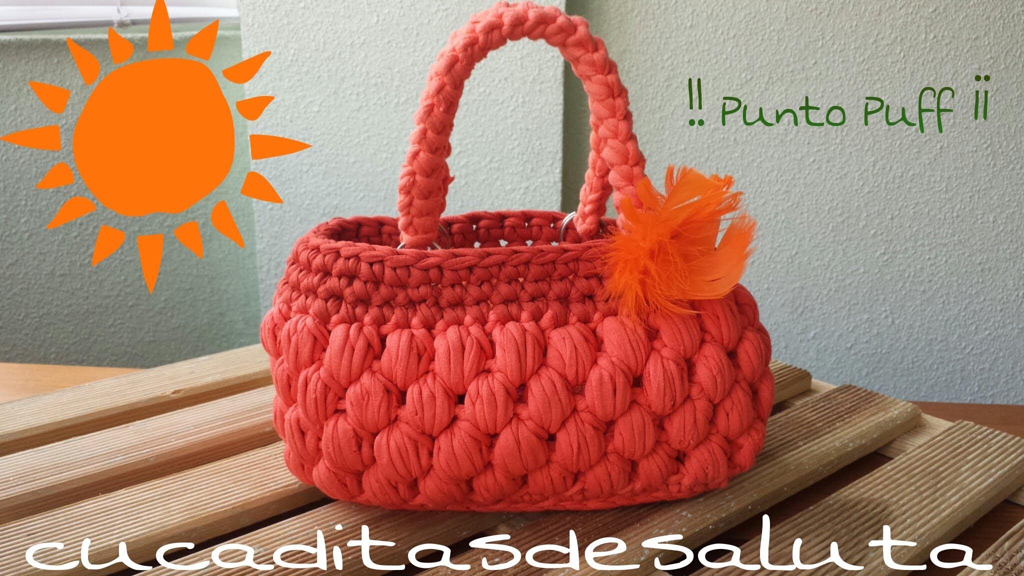 Bolso de Trapillo !! Punto Puff ¡¡ Handbag. of. Trapillo step by step