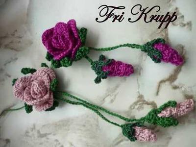 Botoes de rosa em croche. gehäkelte Rose, crochet roses, flores