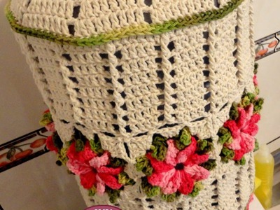 Capa de galão de água de crochê com flores por JNY Crochê