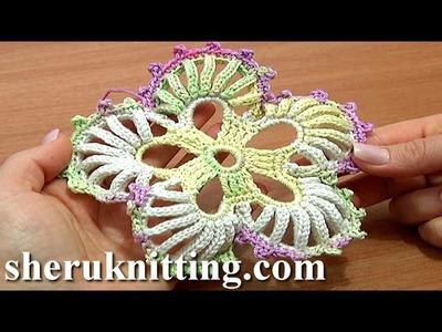 Crochet 5-Petal Flower Big Round Petals Tutorial 53 Hæklet blomst