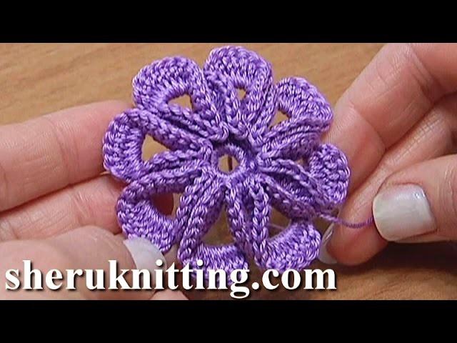 Crochet 8 Petal 3d Flower Tutorial 5 3d Blume Häkeln
