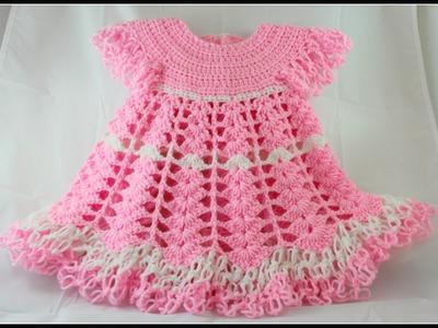 Crochet Baby Dress. Shells and lacy dress - Video 1. subtitulos en espanol
