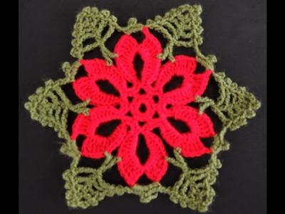 Crochet : Flor de Navidad # 2.  Parte 1 de 2