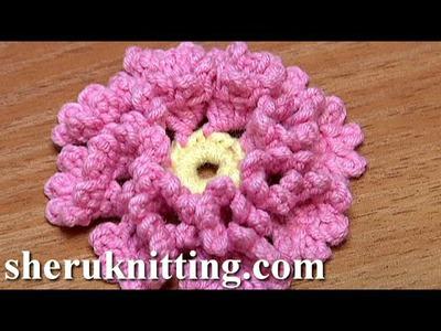Crochet Flower How To With Zig-Zag Petals and Picots Tutorial 33 Λουλουδι με την Πλεξη Κροκοδειλος