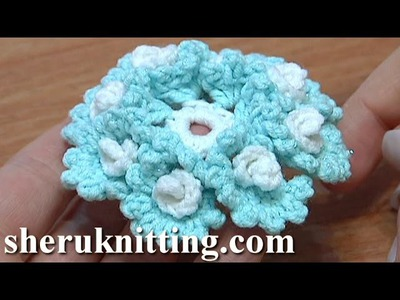Crochet Flower With Small Spirals Around Tutorial 23 鉤針花