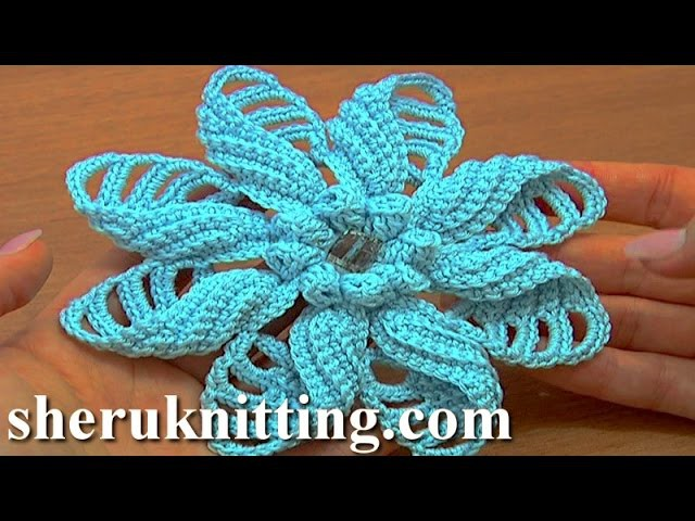 Crochet Folded Petal Flower Popcorn Stitches Center Tutorials 57 Part 2 of 2
