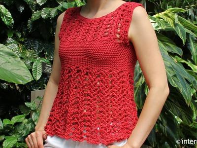Crochet red azalea stitch summer top