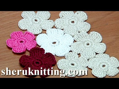 Crochet Simple Five-Petal Flat Flower Tutorial 28 Part 1 of 2 Crochet Fiore
