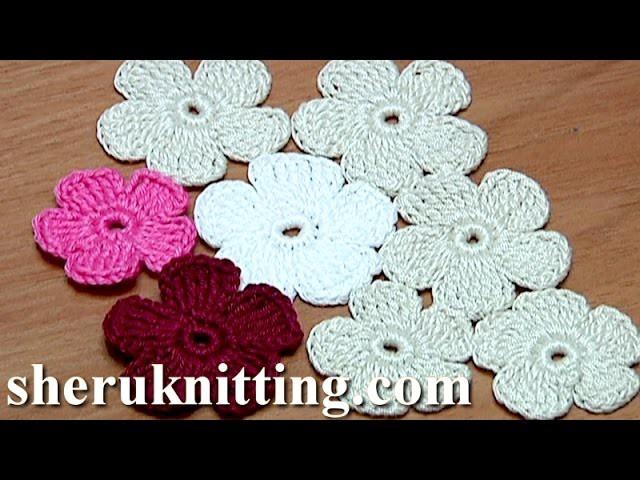 Crochet Simple Five-Petal Flat Flower Tutorial 28 Part 1 of 2 Crochet Fiore