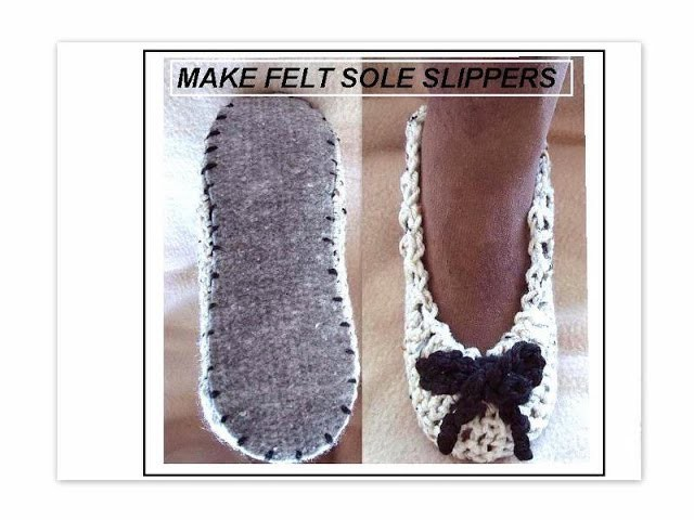 CROCHET SLIPPERS ON FELT SOLES, how to diy, purchase felt insoles and make comfy slippers