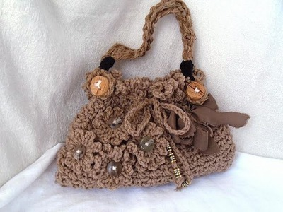 DIY CROCHET PURSE, frilly, stylish crochet handbag or shoulderbag, and line a bag,