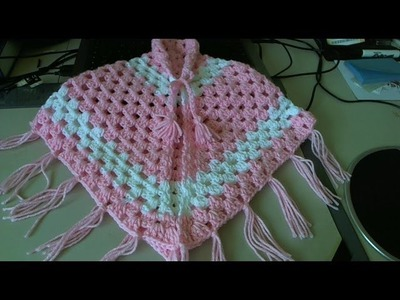 Easiest Crochet Poncho - baby - Adult sizes.  Pancho en crochet