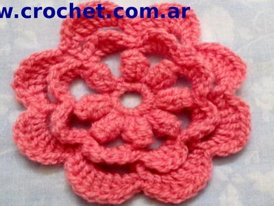 Flor N° 15 en tejido crochet tutorial paso a paso.