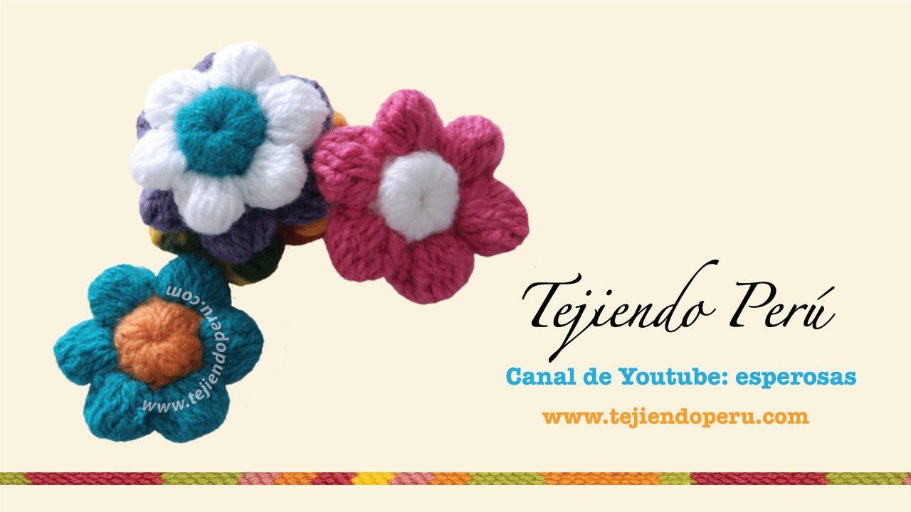 Flores de botón a crochet