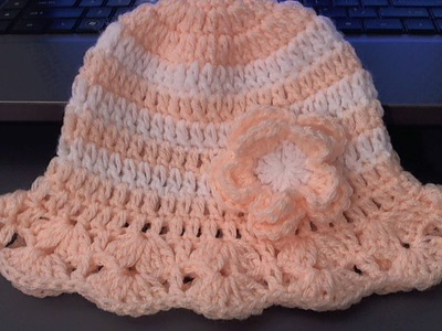 How to crochet baby . childs hat for summer (tambien en Espanol)