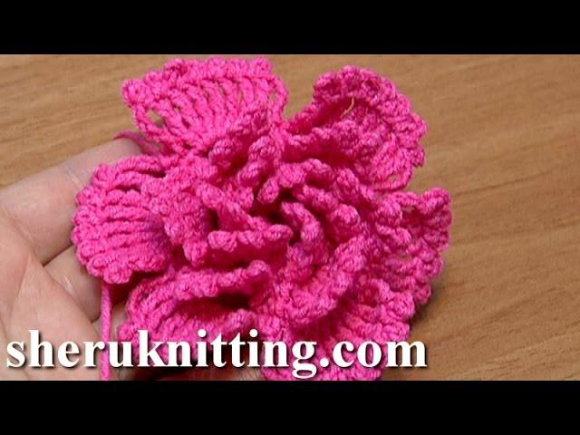 How To Crochet Big Petal Layered Flower Tutorial 34 Πλεκτό λουλουδάκι