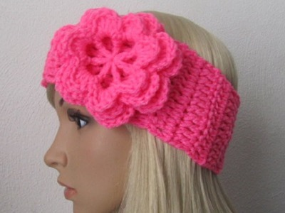 How to Crochet Earwarmer.Headband with a Flower Pattern #3│by ThePatterfamily