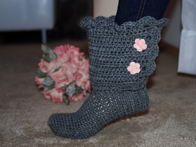 How To Crochet Glama's Fancy Bootie Slippers