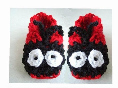 HOW TO CROCHET LADY BUG SLIPPERS.